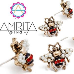 Ruby Red Bumble Bee Stud Earrings